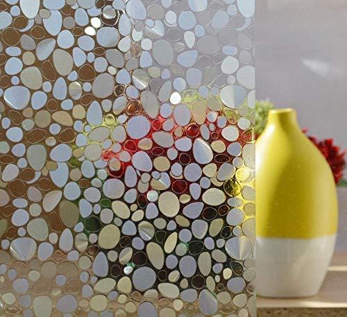 LMKJ Envoltura de plástico estático guijarros láser 3D protección de privacidad protección UV Decorativa Pegatinas de Ventana Reutilizables A27 50x100cm