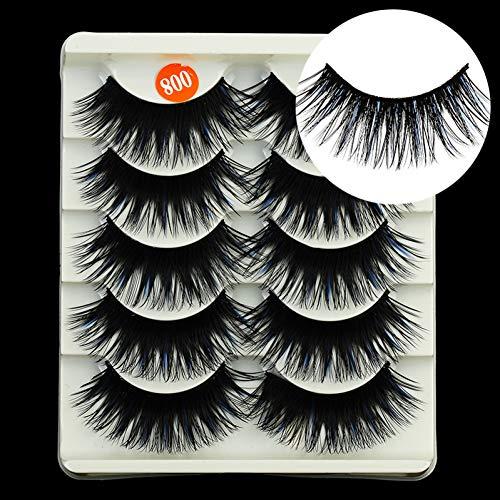 CWJCZY 5 Paires Bleu Couleur Naturel Faux Cils Faux Cils kit de Maquillage 3D Vison Cils Extension de Cils Vison Cils