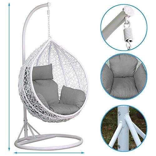 JYKJ outdoor hangstoel rotan schommelstoel terras tuin rieten wit opknoping ei stoel hangstoel hangmat kussen laadbaar 150kg