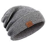Wmcaps Gorro de Invierno, Hombre Gorros de Punto Unisex Slouch Cráneo Sombreros, Diseño Clásico Moderno y Suave (Gris)