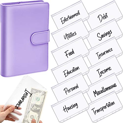 A6 PU Leather Notebook Binder Planner Budget Organizer Round Ring Binder Cover Magnetic Personal Planner Binder with 12 Binder Pocket Binder Zipper Folders for Bill Planner (Purple, Black Printing)
