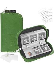 Estuche de Tarjeta de Memoria – Sirve para 22x Tarjetas SD, SDHC, Micro SD, Mini SD y 4X CF – Estuche con 22 Ranuras (8 Páginas) - para Almacenamiento y Viajes (Verde)