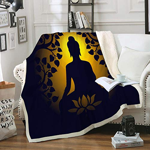Boho Blanket Black Gold Throw Blanket Sherpa Fleece Blanket Buddha Statue with Leaves Lotus Flowers Pattern Design Soft Cozy Blanket for Bed Sofa Travel Camping(Gold Black, Twin(60'x80'))