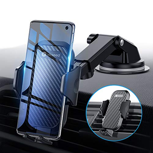 Universal Car Phone Mount VICSEED Car Phone Holder for Car Dashboard Windshield Air Vent Long Arm Strong Suction Cell Phone Car Mount Fit with iPhone 11 Pro X XS Max XR Galaxy Note10 S10 & All Phones