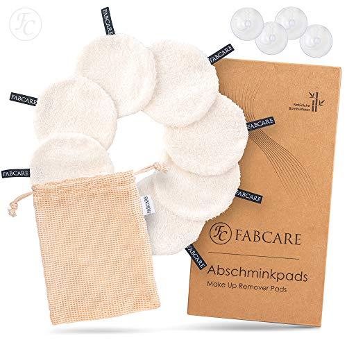 Discos desmaquillantes lavables de FABCARE - DERMATEST: MUY BUENO - Zero waste & Sostenible - Almohadillas cosméticas redondas de 12 x 12 cm [8 piezas]