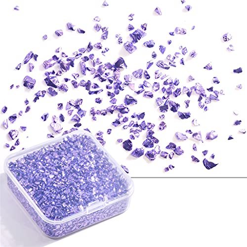 BMBN Piedra triturada, Piedra triturada Irregular en Caja 80g Joyas Fragmentos de Vidrio súper Intermitentes Decoraciones de uñas Pegatinas de uñas Fabricación de Joyas Violeta