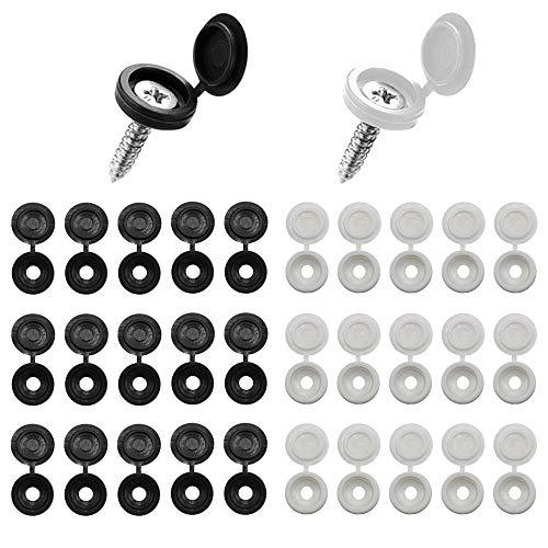 Gativs Tapa de Tornillo 200 Piezas Cubierta de Tornillo Blanco y Negro Embellecedor para Tornillos Tapa de Plástico para Tornillos para Decoración de Furniture Cabinets(2 Colores)