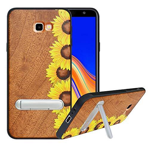 HHDY kompatibel mit Samsung Galaxy J4 Plus /J4 Prime / J4 Core Hülle,Metallständer Kickstand Handyhülle,Schutzhülle aus Hart Holz Soft TPU Bumper,Anti Scratch Wood Cover Case Handyhülle, Sunflower