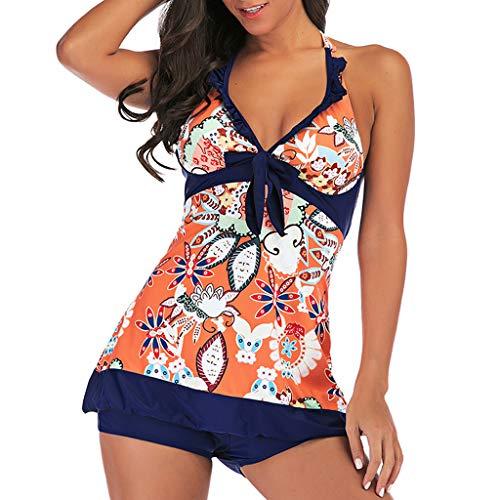 LILIHOT Frauen Plus Size Print Tankini Badeanzug Badeanzug Beachwear Gepolsterte Badebekleidung Damen Push up bademode bauchweg figurformend Bandeau große Größen Rückfrei