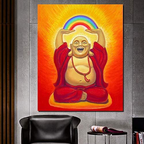 Lachender Buddha Kunstölgemälde Leinwanddruck Wohnzimmer Hauptdekoration Moderne Kunst Ölgemälde Poster,Rahmenlose Malerei,50x60cm