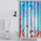 EULIFE WQEU1695-48 Duschvorhang mit Quallen, Korallenfarben, 122 x 183 cm, Unterwasserwelt für Kinder, Polyester, schnelltrocknend, wasserfest, mit 12 Haken