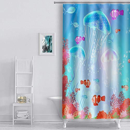 EULIFE kwallen koraal gekleurde vis douchegordijn 48 * 72inch (122x183cm) onderwater wereld voor kinderen polyester stof snel drogen waterdichte badkamer douchegordijn set met 12 haken WQEU1695-48