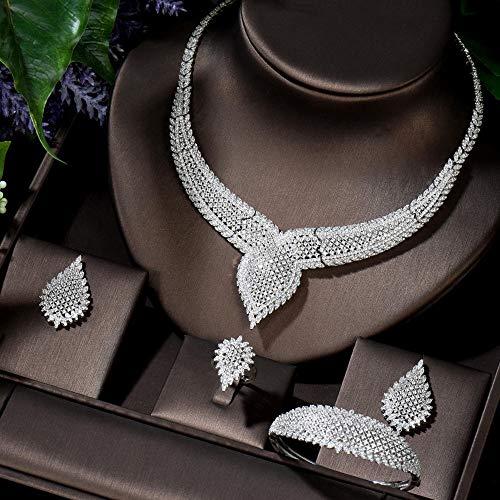 FWJSDPZ Juego de pulsera africana de lujo único para mujer, juego de joyas de novia con circonita cúbica y cristal CZ (color: chapado en platino)