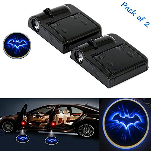 Florally - Faro proyector LED para puerta de coche, 2 unidades, diseño de murciélago azul, con logotipo de cortesía de bienvenida, proyector láser, sensor de imán