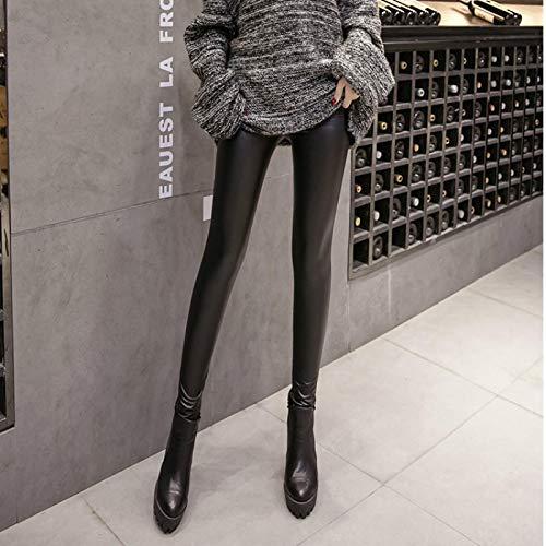 Leggings más Cachemir Leggings para Mujer Otoño Invierno Nuevo Vintage De Cintura Alta Spandex Plus Velvet Skinny Leather Pencil Pants Mujer S Blackplusvelvet