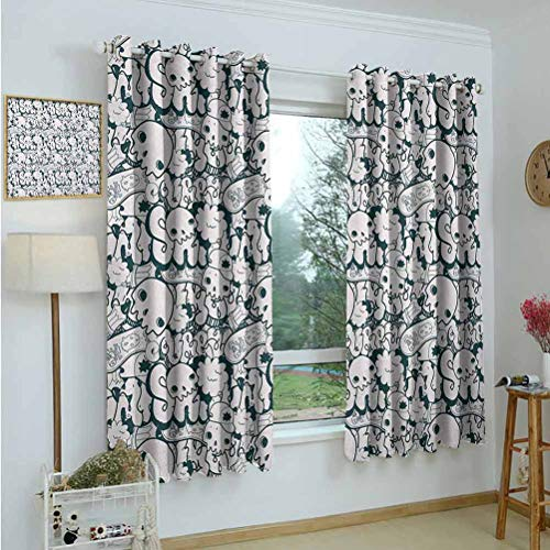 Gardome Room Darkening Wide Curtains Teen,Skull and Skateboard Doodle Cool Graffiti Design Monochrome Illustration,Charcoal Grey White,Light Blocking Drapes with Liner 42'x63'
