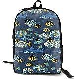 Mochila de viaje para colegio, mochila de viaje con hombro, mochila informal para portátil, mochila de viaje ajustable con diseño de animales de mar submarinos, para adolescentes y niñas, adultos y niños, estudiante de negocios