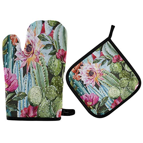 Blueangle Flowers Roses Cactus Oven Mitts and Pot Holders, Heat Resistant to 536 F, Non Slip Kitchen Oven Gloves and Potholders for Cooking,Baking,Grilling, 2-Piece