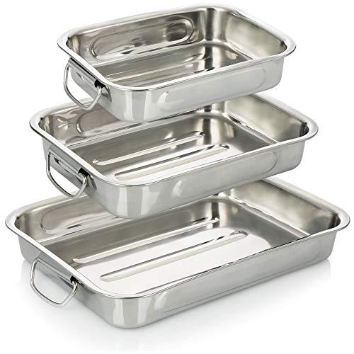 COM-FOUR® Set 3 pezzi per arrosti e teglie da forno - tostatrice in acciaio inox con manici - casseruola in acciaio inox per cucinare e cuocere - teglia da forno