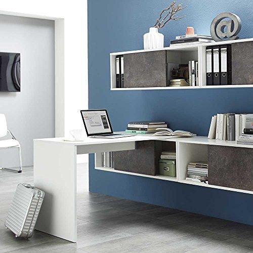 Pharao24 Büro Wandregal mit Schiebetüren Weiß Dunkelgrau Stein Optik