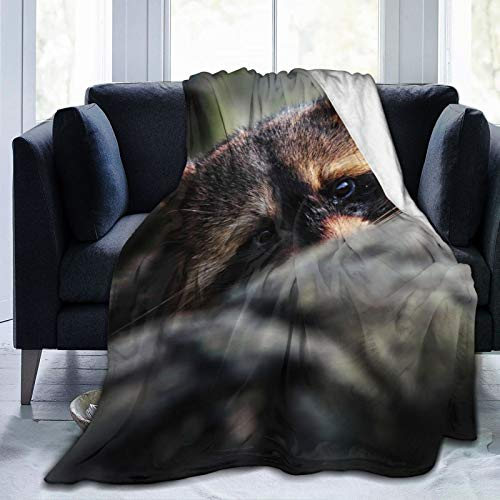 June flower Fleece Blanket 50'x 60' - Raccoon Hid Muzzle Ears Home Flannel Fleece Soft Warm Plush Throw Blanket for Bed/Couch/Sofa/Office/Camping