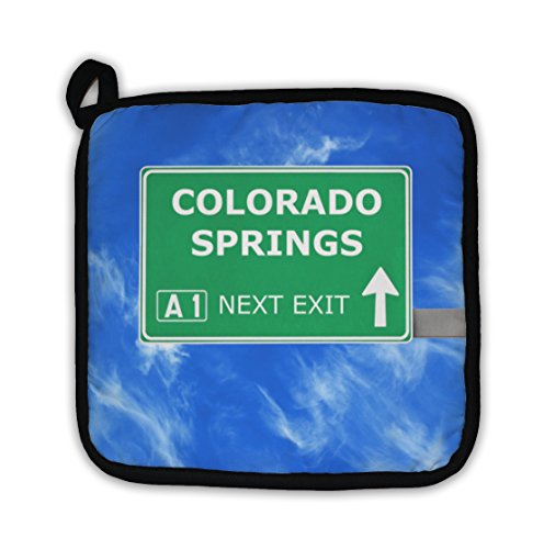 Gear New Colorado Springs Road Sign Against Clear Blue Sky Pot Holder