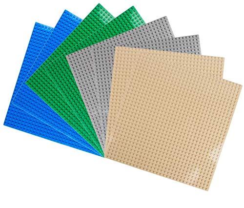 LVHERO 8 Platten-Set Bauplatte Kompatibel mit Meisten Marken, 25*25 cm, Kreatives Spielen, Lernspielzeug (Mehrfarbig)