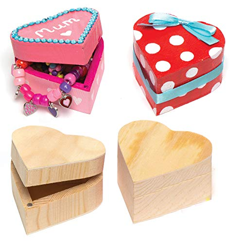 Baker Ross EK2436 Wooden Heart Boxes (Pack of 4) For Kids to Paint and...