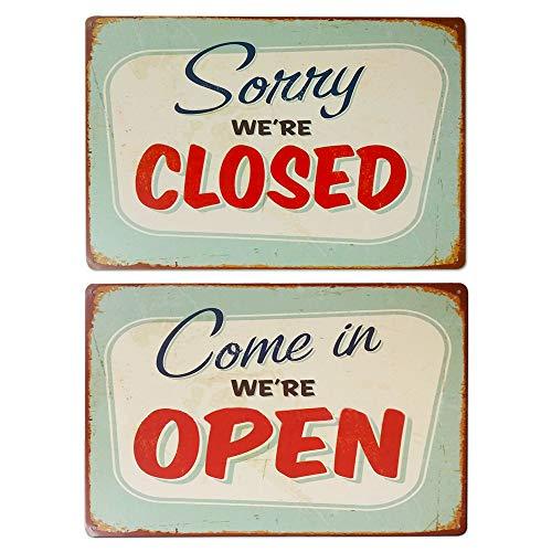 LZYMSZ Placa de metal retro con texto en inglés «Come in We Are Open», «Sorry We Are Close», decoración de pared para café, bar, restaurante, tienda