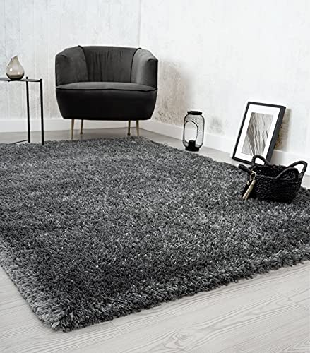 Willow Alfombra de pelo largo para salón, dormitorio, moderna, suave, mate, monocolor, antracita, 160 x 230 cm