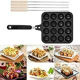 HelloCreate Takoyaki Grill Pan, molde de cocina antiadherente herramienta, hacer panqueques redondos para cocinar bandeja para hornear, 16 agujeros parrilla bandeja con 4 agujas para hornear