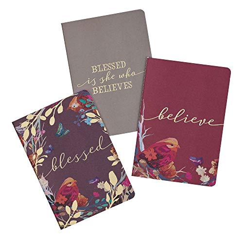 Blessed Is She Notebook Set in Eggplant, Burgundy and Grey with Gold-Foil Accents