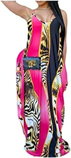 HEFASDM Womens Floral Printed Sleeveless Casual Loose Long Maxi Dress