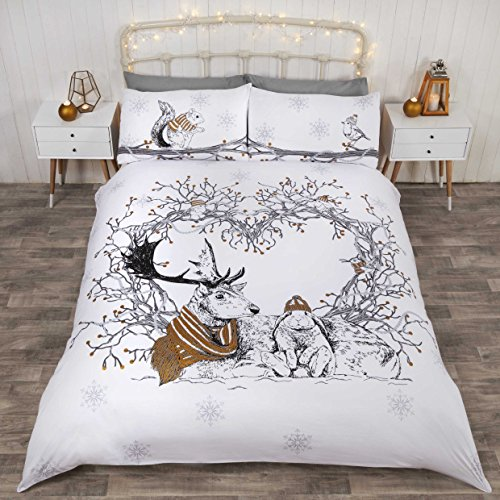 Rapport Stag And Friends Duvet Set, King-Gold, Polyester-Cotton