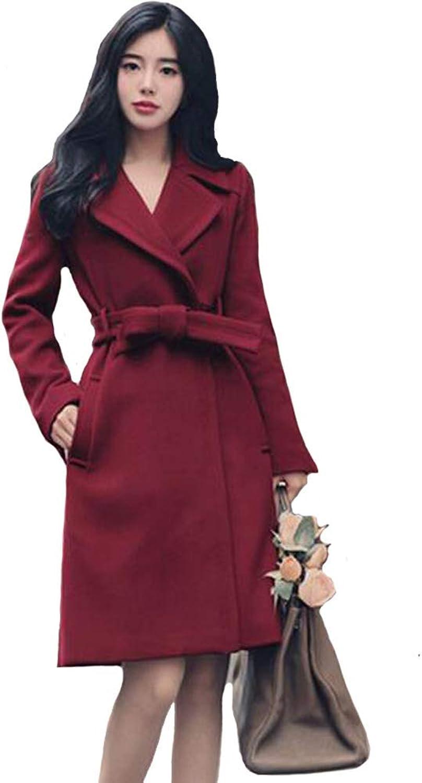 WOMA Women's Wool Blends Coat Lady Trendy Lapel Collar Winter Jacket with Belt