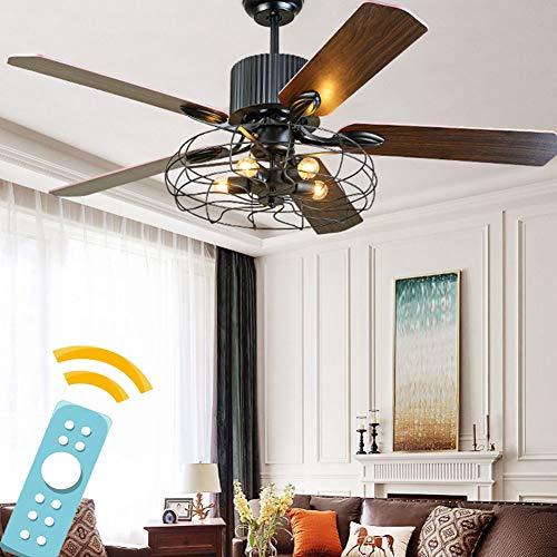 Plafondventilator Licht 52 Inch Retro Industrieel 5 Lichten E27 Armatuur voor Restaurant/Woonkamer/Slaapkamer Creëer IJzeren Kooi Rustieke Stijl
