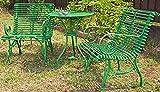 Casa Padrino Jugendstil Gartentisch & Gartenstühle 3 Teiliges Gartenmöbel Set, Farbe:grün