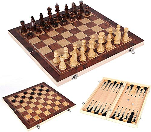 backgammon chess sets Wooden Chess Set Folding, 3 in 1 Wood Chess Checkers Backgammon Set with Storage for Adults Beginners and Kids Aged 4+
