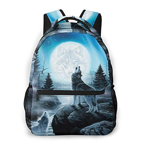 Lawenp Fashion Unisex Backpack Wolf Called Moon Galaxy Bookbag Lightweight Laptop Bag for School Travel Outdoor Camping