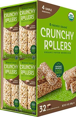 Crunchy Rice Rollers - Organic Brown rice - Gluten Free - Vegan - 0.9 oz (16 Packs of 2 Rollers)