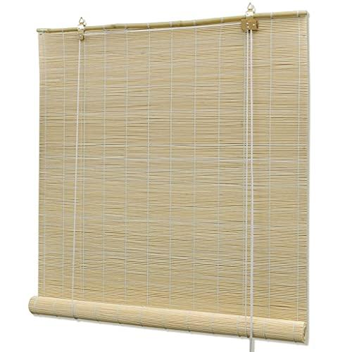 vidaXL Persiana/Estor Enrollable de bambú Natural 140 x 160 cm