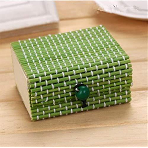 1 pieza de moda anillo collar pendientes caja de madera de bambú cajas de almacenamiento de joyería soporte cajas de almacenamiento de color de flores de regalo