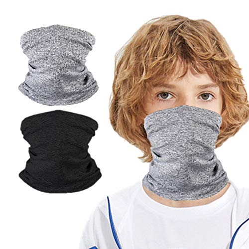 Kids Summer Protection Face Cover, 2 Pack Bandana Neck Gaiter Balaclava for Girls Boys Children Gift,Mask Half Face,Reusable Breathable Washable Infinity scarf for Hiking Travel Fishing Cycling