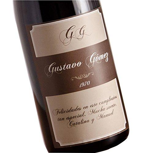 Calledelregalo Regalo Personalizable para cumpleaños: Botella de Vino Personalizada con Sus Iniciales, Nombre, año de Nacimiento y dedicatoria