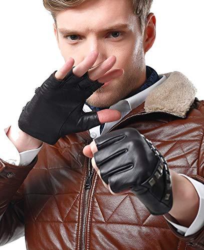 Gants Pour Hommes Conduite Sans Doigts Gants Moto De Gants Único D'Extérieur Mode Pour Hommes Gants D'Équitation (Color : Dunkelbraun, Size : M)