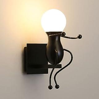 Applique Murale, Cartoon Métal Appliques Robot Noir E27 Pour Chambre Couloir Cuisine Salle à Manger (ampoule non incluse)