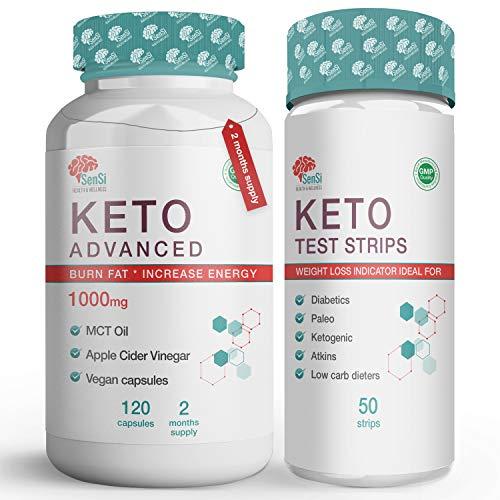 Keto Diet Pills Plus Ketosis Test Strips for Men & Women – 120 Ketogenic Weight Loss Pills - MCT Oil/Apple Cider Vinegar Appetite & Hunger Suppressant - 2 Months Supply