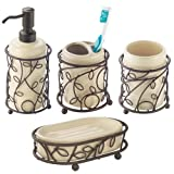 iDesign Twigz 4-Piece Bathroom Accessory Set with Soap Dispenser, Toothbrush Holder, Tumbler, and Soap Dish - Vanilla/Bronze