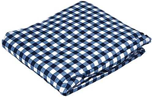 Amazon Basics FTD, Sábanas Ajustables, 90x190x30cm, Cuadros Azules