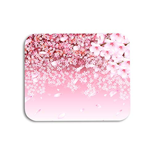 AOYEGO Cherry Mouse Pad Pink Flower Blossom Spring Floral Petals Gaming Mousepad Rubber Large Pad Non-Slip for Computer Laptop Office Work Desk 9.5x7.9 Inch